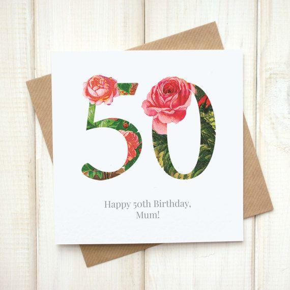 50th Birthday Card Birthday Card For Her Floral Birthday Card
