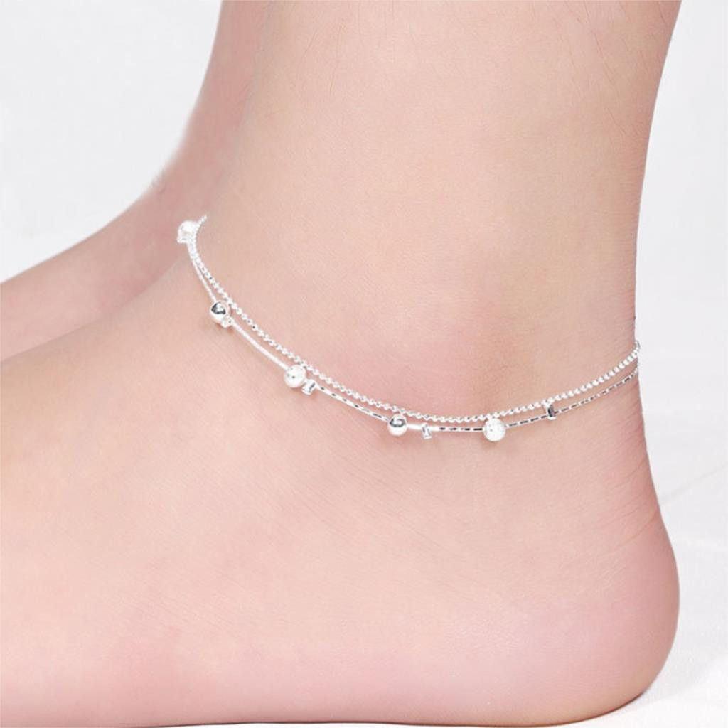 women silver plated anklet bead ankle bracelet fashion anklets for