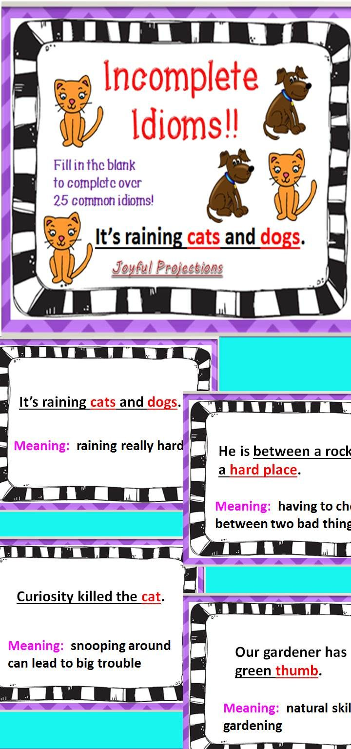 Let your students fill in the blanks to complete these idiomatic phrases.  As the phrase is…   Idioms [ 1536 x 720 Pixel ]
