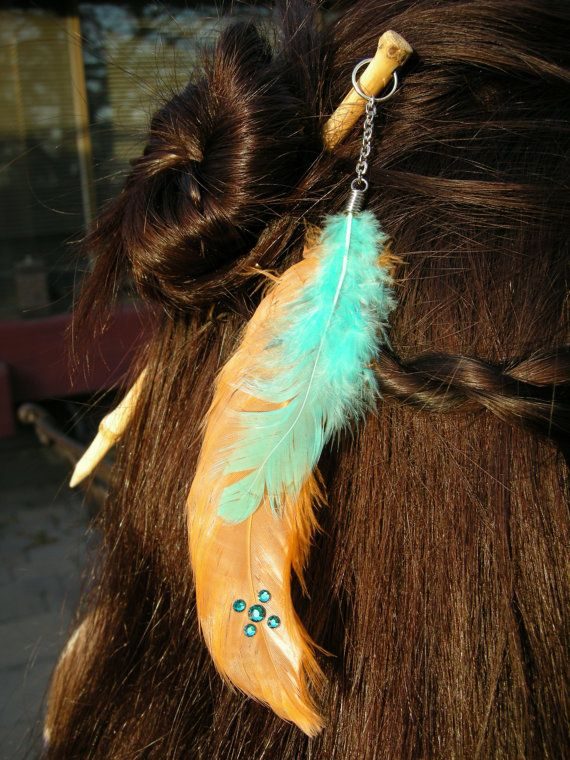feather hair stick with swarovski crystals hajt k pinterest schmuck. Black Bedroom Furniture Sets. Home Design Ideas