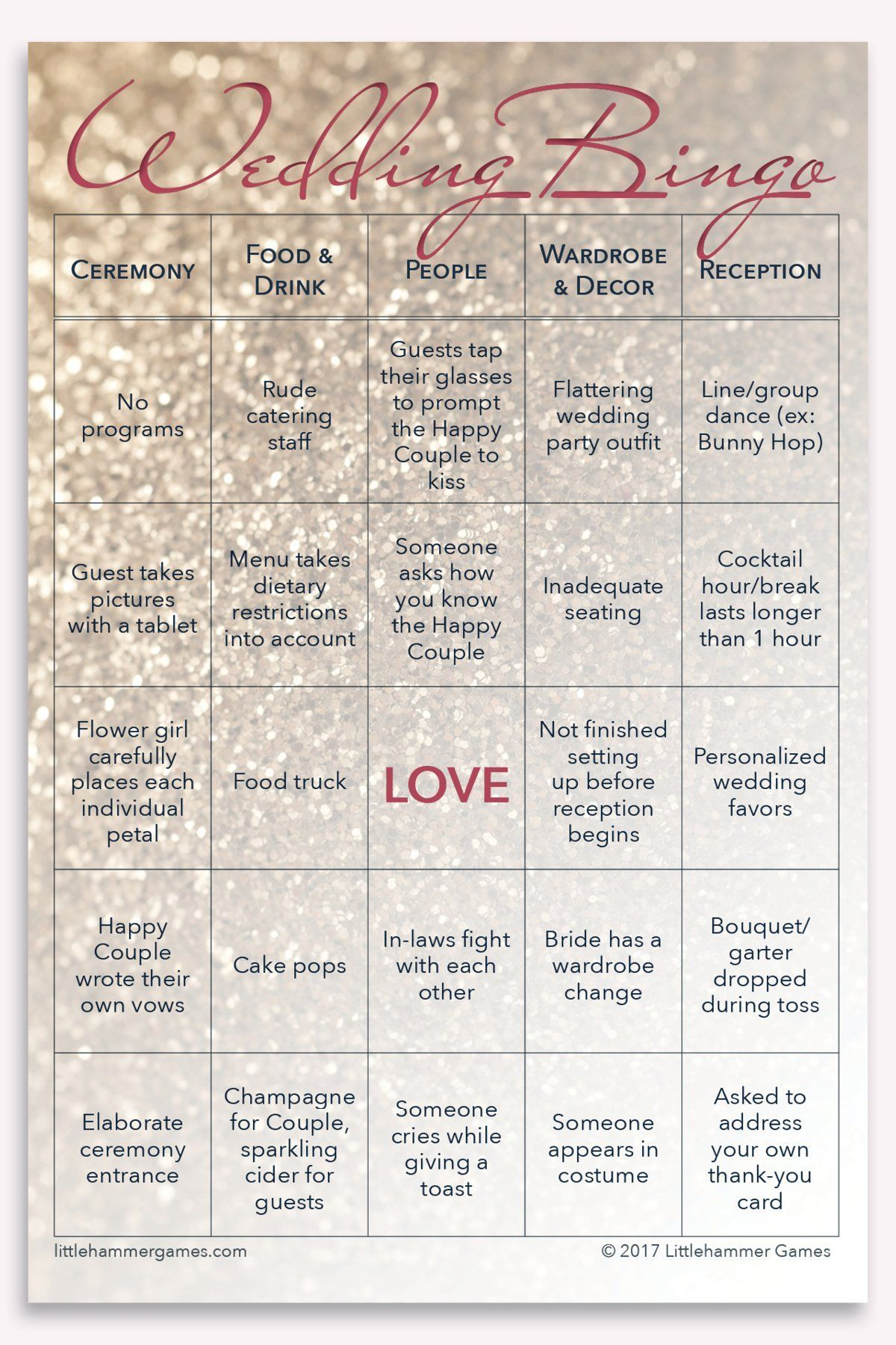 Wedding Bingo 2 Brides Edition 100 Card Printed Set With Gold
