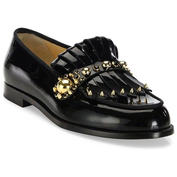 Christian Louboutin Octavian Studded Patent Leather Kiltie Loafers (43,900  DOP) ❤ liked on Polyvore