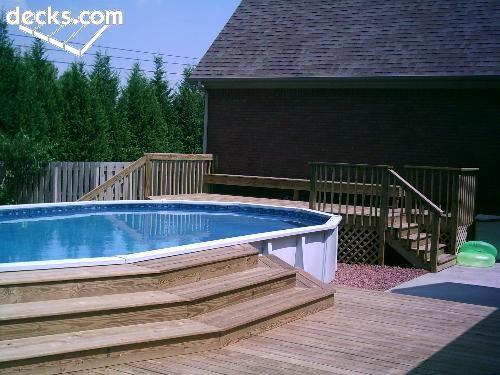 ground above pool deck pools decks swimming step around backyard steps plans decking outdoor porch inground learn designs oasis nice