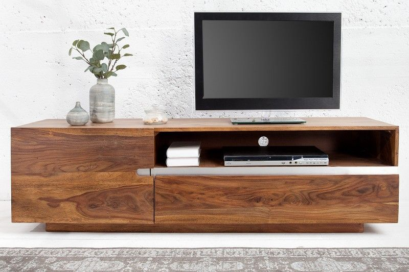 6b3713586 Luxusný veľký stolík z masivneho dreva Sheesham. Stolik pod televizor z  masívu. TV Board from solid wood Sheesham and shine metal.