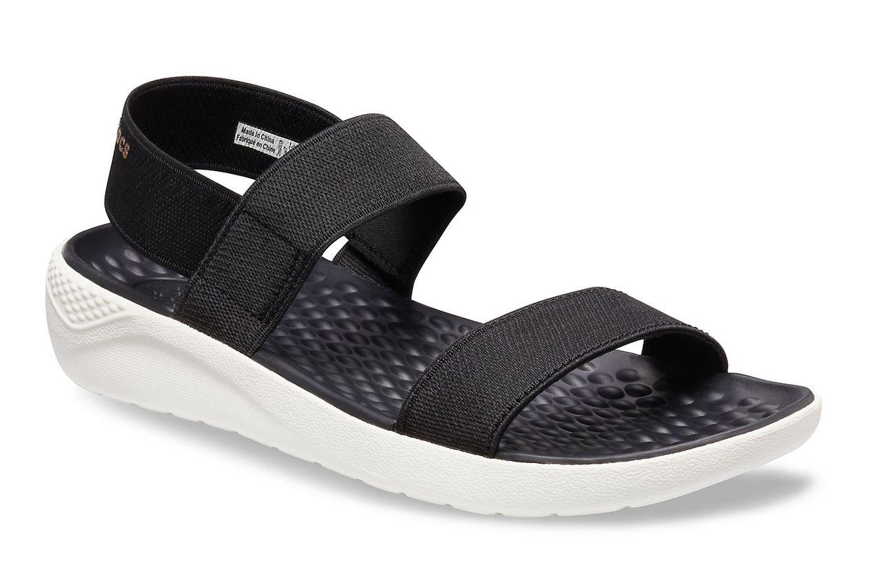 Crocs 205106 LITERIDE SANDAL Ladies Open Toe Ankle Strap Comfort Sandals Black