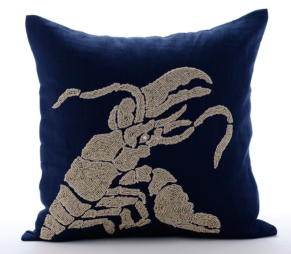 Navy blue throw pillow covers 20x20