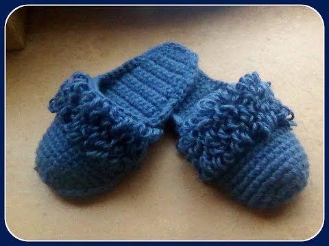 Zapatillas de crochet con 2 hebras de lana - Patrones Crochet