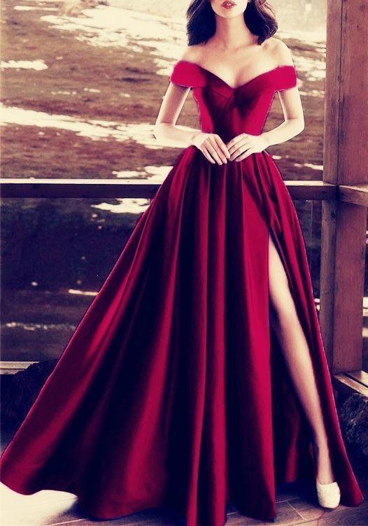 6f448dc0ba76 Elegant V-neck Off The Shoulder Long Satin Prom Dresses Burgundy Evening  Formal Gowns by Hiprom