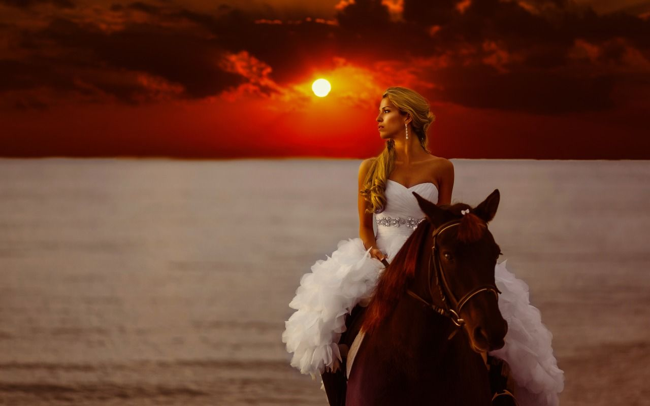 Download Wallpaper sea, girl, sunset, style, mood, horse