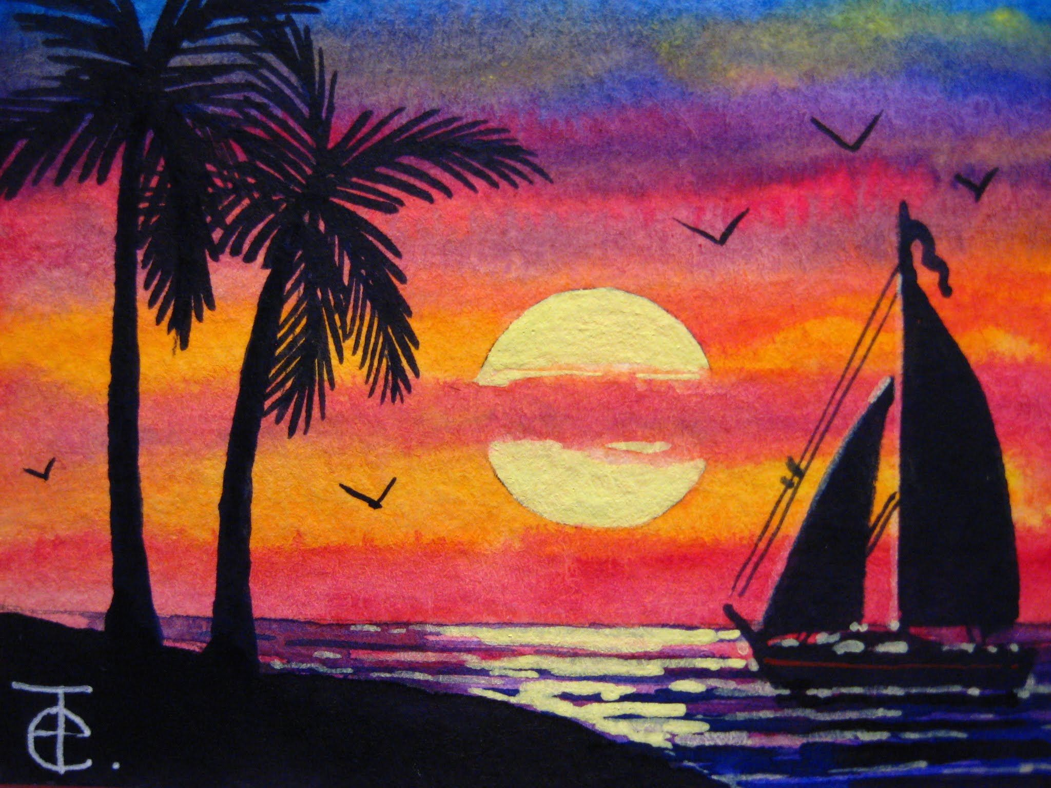 How To Draw Scenery Of Sunset With Oil Pastel Step By Step Easy