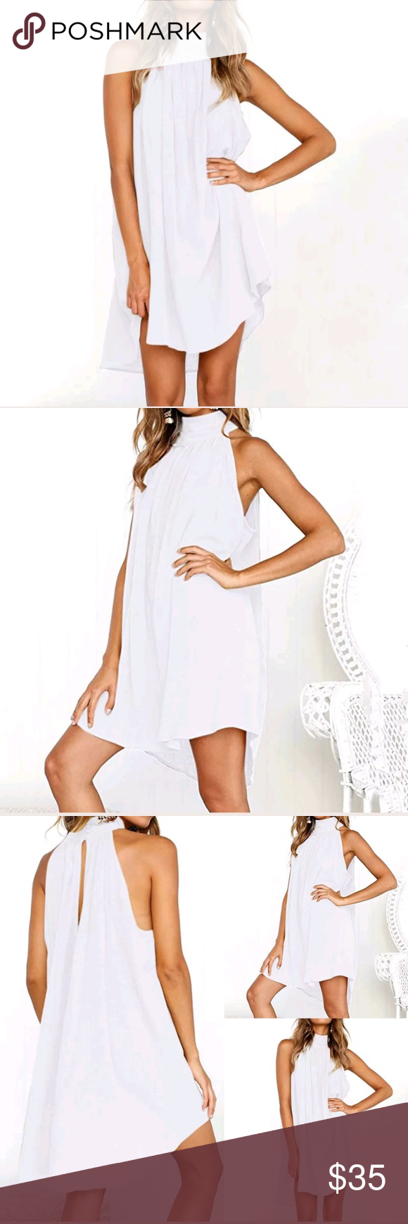 Sheer Gauze Halter Dress