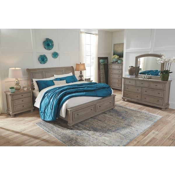 Best Lettner Light Gray Sleigh Bed With Storage Bed Storage 640 x 480