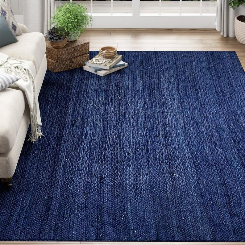 Buy Soft Navy Blue 5 X 7 Braided Area Rugs For Living Room On Etsy In 2021 Navy Blue Area Rug Blue Area Rugs Area Rugs 5 x 7 rugs on sale