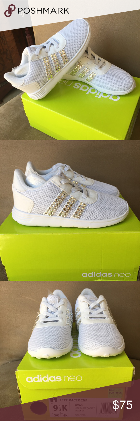 on sale 04f7c ce164 Swaovski Adidas Bedazzled Shoe - Habdcrafted Kids Adidas Shoe - Handcrafted  - Swarovski Crystals - Made to Order adidas Shoes Sneakers