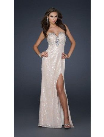 Sheath Strapless Sequins and Beading Long Prom Dress