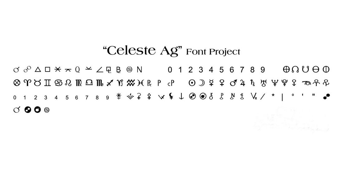 Celeste Ag Font Is A Special Font Created For An Astrology Software