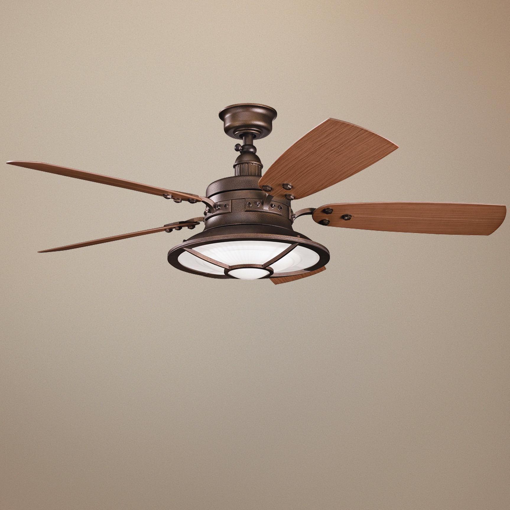 "52"" Kichler Harbour Walk Weathered Copper Finish Ceiling Fan"