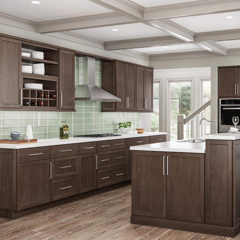 Hampton Bay Shaker Assembled 36x34 5x24 In Sink Base Kitchen Cabinet In Brindle Ksb36 Bdl The Home Depot Stained Kitchen Cabinets Brown Kitchen Cabinets Modern Kitchen Cabinet Design