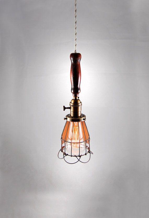 vintage inspired work light trouble light pendant with cloth rh pinterest com