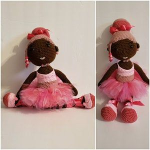 Crochet Doll with Two Afro Puffs #crochetbowpattern