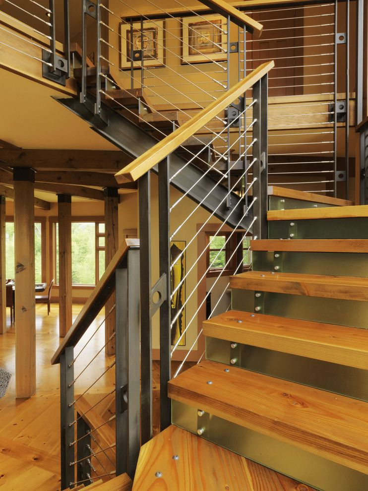 Stair railing ideas staircase contemporary with knotty for Modern outdoor railing