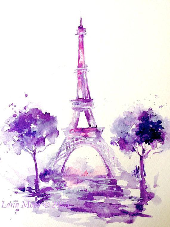 Eiffel Tower Print From Original Watercolor Paris By Lanasart