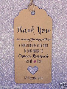 Personalised Charity Donation Gift Tag Wedding Favour Guest Label