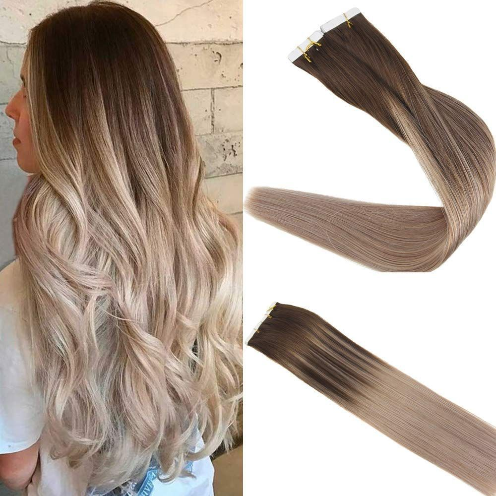 Tape in Hair #humanhairextensions Tape In Hair Extensions 100% Remy Human Hair Balayage Ombre Color #4/16 #humanhairextensions