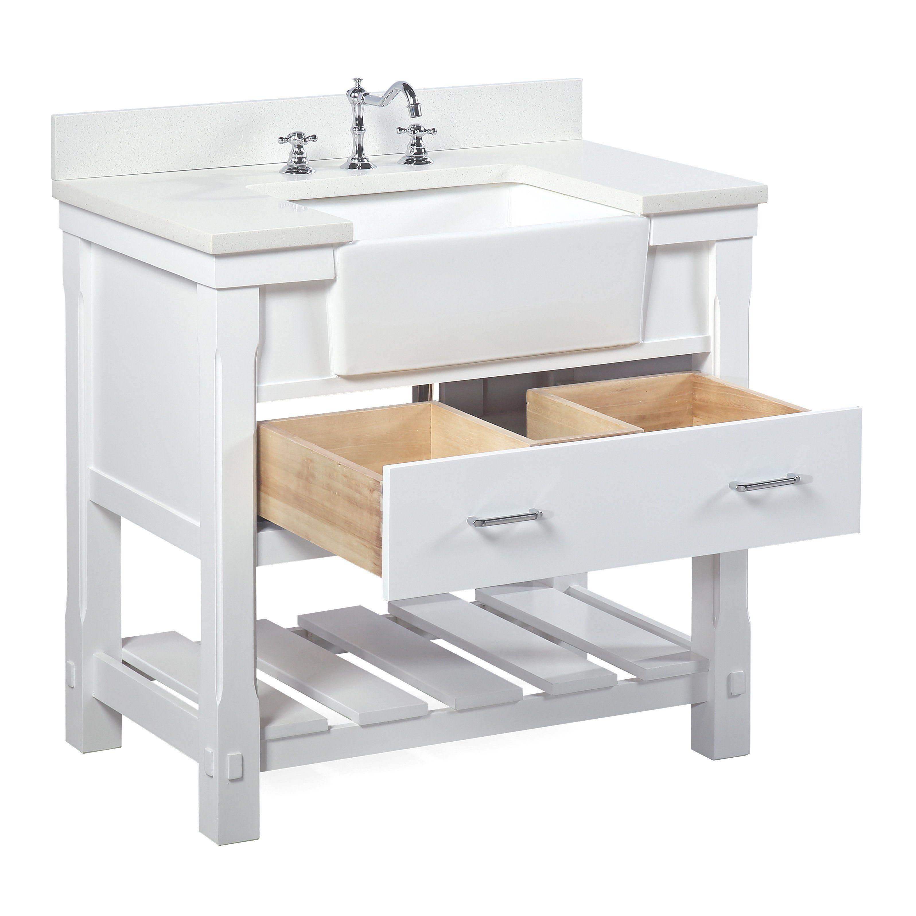 Charlotte 36 Inch Farmhouse Vanity With Quartz Top In 2021 Single Bathroom Vanity Farmhouse Vanity Laundry Room Sink [ 3193 x 3193 Pixel ]