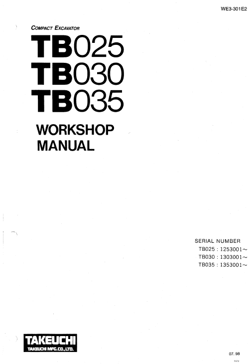 Takeuchi Tb025 Tb030 And Tb035 Excavator Service Manual Excavator Manual Repair And Maintenance
