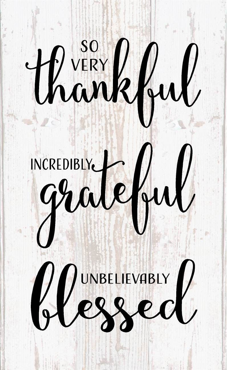 Thankful Grateful Blessed Wood Sign Canvas Inspirational