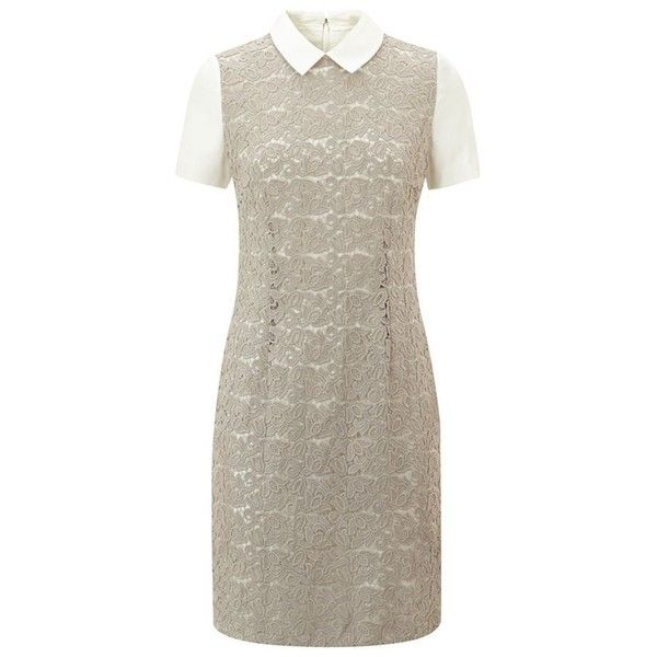 BOSS Womenswear Hala Lace Dress (10 875 UAH) ❤ liked on Polyvore featuring dresses, boss hugo boss dress, short-sleeve dresses, form fitting dresses, collar dress and lace up front dress