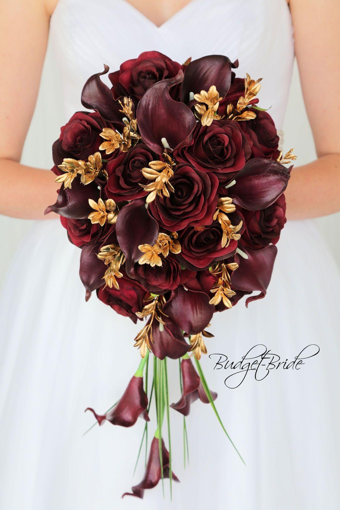 Wine And Gold Cascading Davids Bridal Wedding Flowers Burgundy