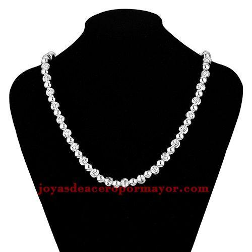 64d1ab3edb0e collar de moda con bolitas de plateado para mujer-BRNEG91153 ...
