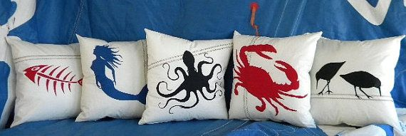 Recycled Sail Pillows Under the Sea Home by SailAgainBags on Etsy