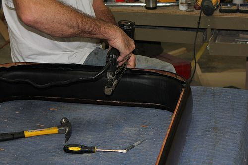 Todd McClure Installing Leather On An Old Rock Ola Shuffleboard