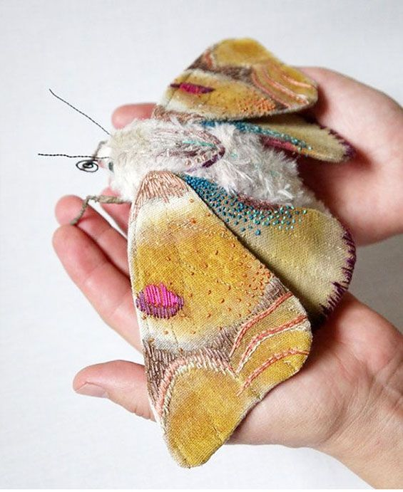 Textile Moth And Butterfly Sculptures By Yumi Okita North Carolina Based Artist Yumi Okita Creates Stunning Fabric Mo Fabric Art Textile Art Handmade Textiles