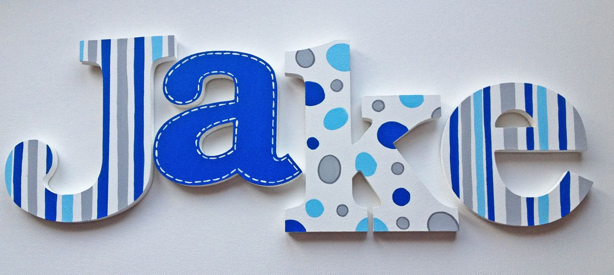 hand painted wooden letters name hangings grey and blue for boys room or nursery room by wwwcaribimbicom