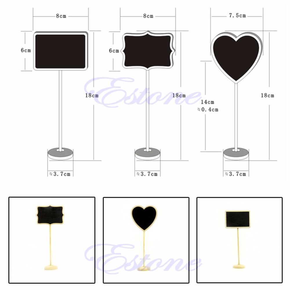 Pack of 12 F6X X4M1 Mini Wooden Framed Table Number Chalkboard Signs with Stand