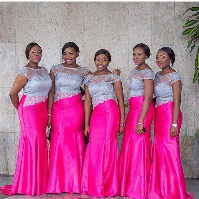 2016 Lace Mermaid Bridesmaid Dresses With Short Sleeve Taffeta Scoop ...