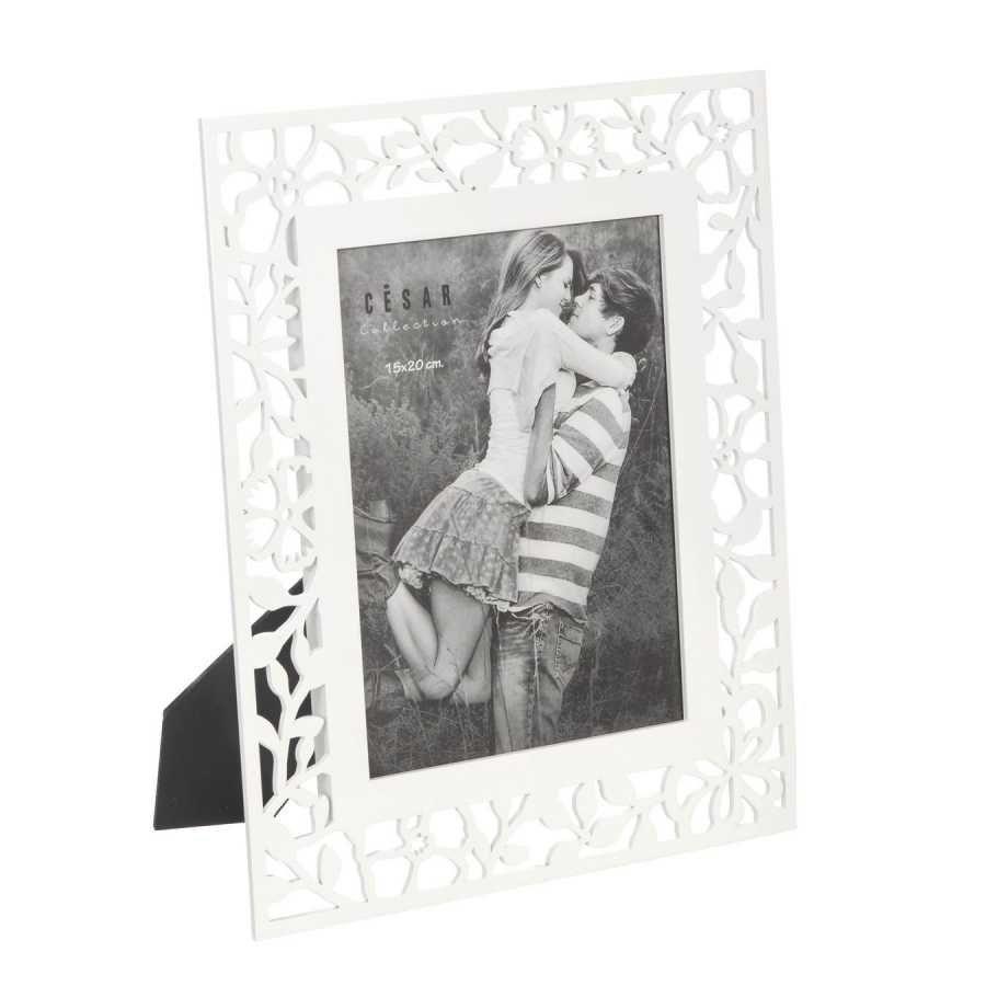 Portafotos calado flores madera 15x20 blanco