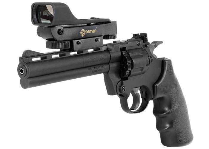 Crosman 357W airgun revolver. Air guns - PyramydAir.com, red dot sight