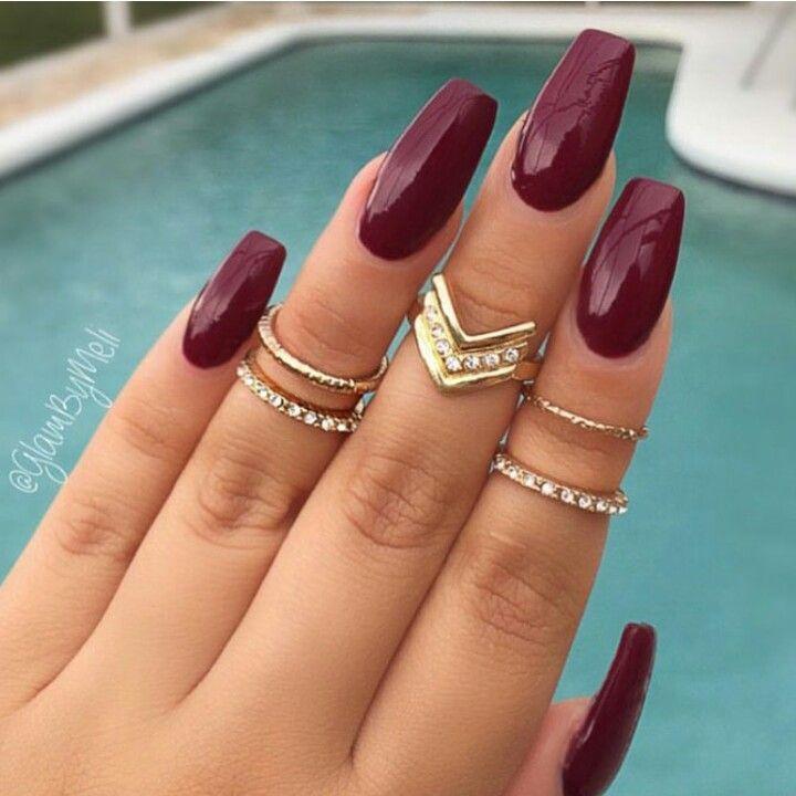 Perfect Fall Color Maroon Nails Burgundy Nails Trendy Nails