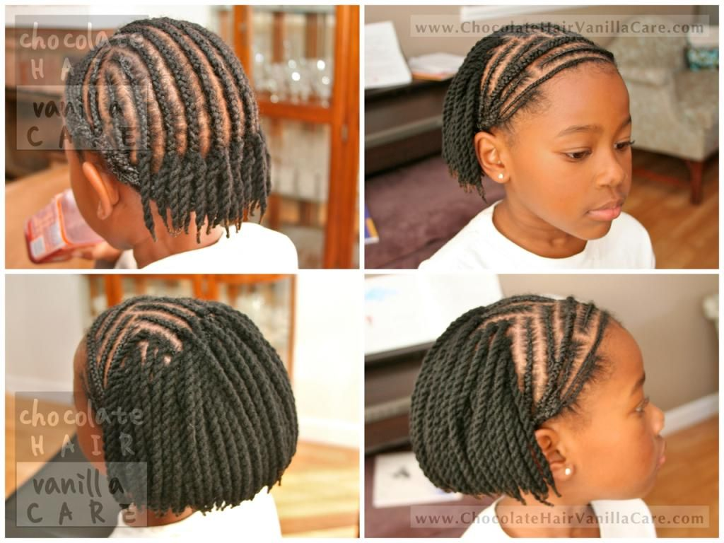 Yarn Braids Hairstyles: Short Yarn Crochet Twists With Bangs And Protected Edges