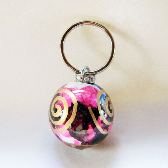 Black and Pink Abstract painted key by HazelMartinDesigns on Etsy