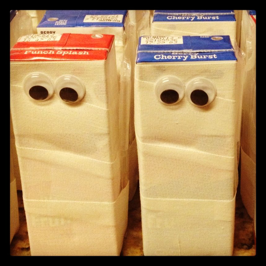Mummy juices. Made for the school Halloween party!