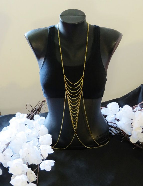 Candace Body Chain, Gold plated, Belly Chain, Beach Jewelry, Custom Jewelry, Sized, Biker Jewelry, Motorcycle, Cross, Horse, Angel Wings via Etsy