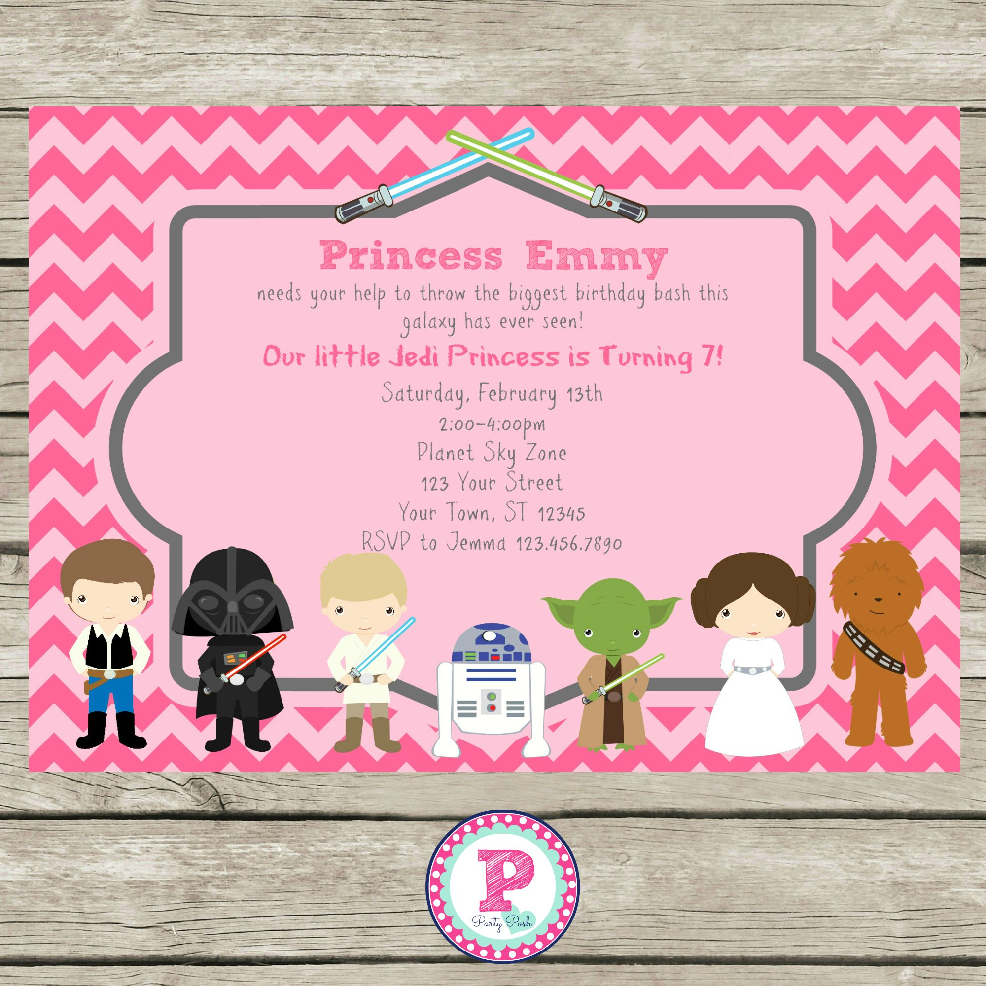 Star Wars Pink Chevron Party Invitation for a girly Star Wars – Girly Party Invitations