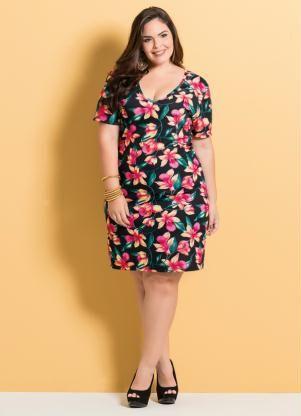 5e69a3f2e925 Vestido Decote V (Floral) Marguerite Plus Size | Fatty dresses ...