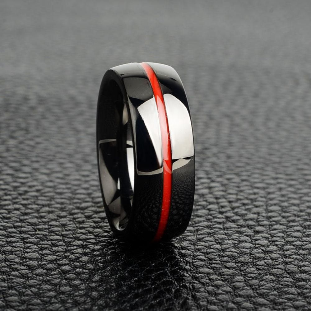 John Is A Firefighter So This Thin Red Line Wedding Band Would Be Perfect Not Just For Us But For Him Firefighter Wedding Thin Red Line Ring Big Wedding Rings